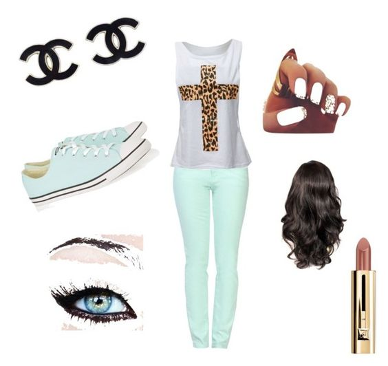 """""""Untitled #28"""" by simona2000 ❤ liked on Polyvore featuring Belleza, Love Moschino y Converse"""