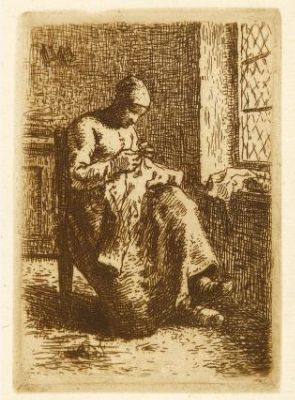 Jean-Francois Millet (French, 1855-1856). Couseuse, 1855-1875. The University of Michigan Museum of Art, Michigan. Gift of Ruth W. and Clarence J. Boldt, Jr., 2008. http://www.umma.umich.edu