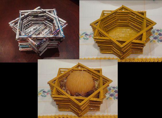 Porta velas feito com canudos de revistas | Artesanato de papel de