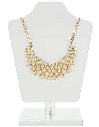Scalloped Statement Enamel Necklace | Cream | Accessorize