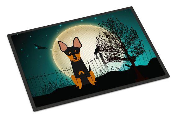 Halloween Scary English Toy Terrier Indoor or Outdoor Mat 24x36 BB2299JMAT