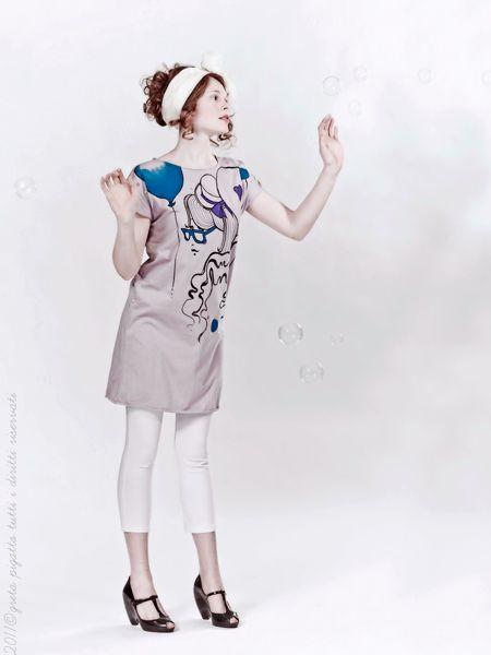 Abito cucito e dipinto a mano Ballooons di Greta Pigatto couture su DaWanda.com