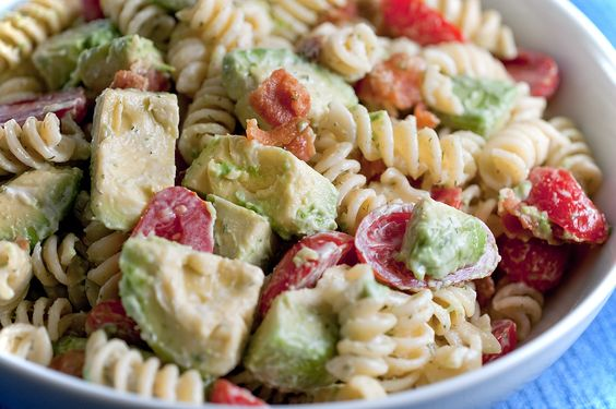 Creamy Bacon Tomato and Avocado Pasta Salad. Bowtie or shell pasta would be good.....