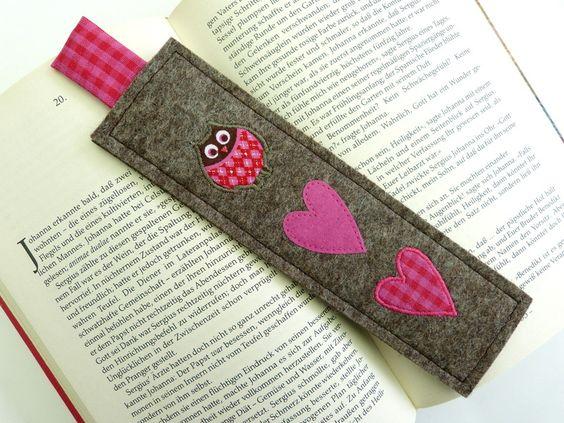 bookmark owls love valentines gift i love you lesezeichen filz lesezeichen und filz. Black Bedroom Furniture Sets. Home Design Ideas