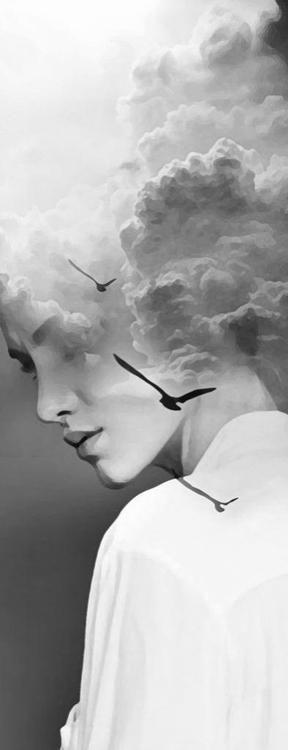 "black-white-madness:  Madness:   ""En las nubes"" by Antonio Mora"