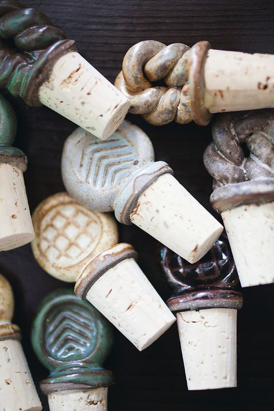 assorted Ceramic wine stoppers by JasonWolffPottery,