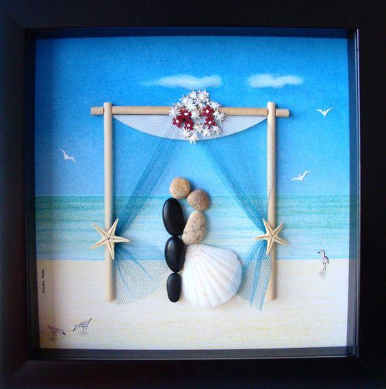 Unique Wedding Gifts For Bride And Groom: Wedding Gift Pebble Art- Couple's Pebble Art- Custom