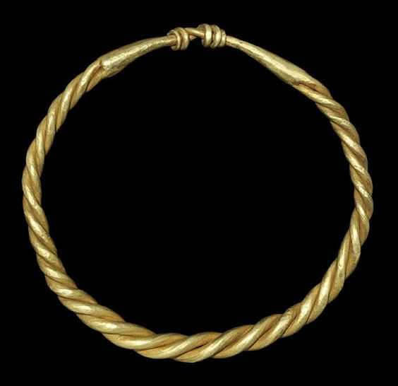 Viking Gold Twisted Bracelet 9th-11th century AD. A bracelet formed with twisted expanding rods, the closure formed with the ends twisted round each other.