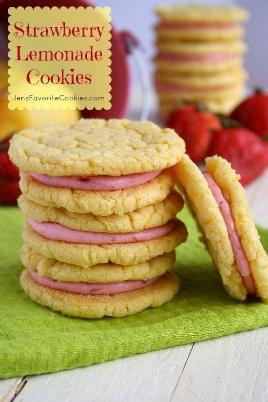 Strawberry Lemonade Cookies- Easy lemon cake mix cookies with fresh strawberry frosting! | Jens Favorite Cookies