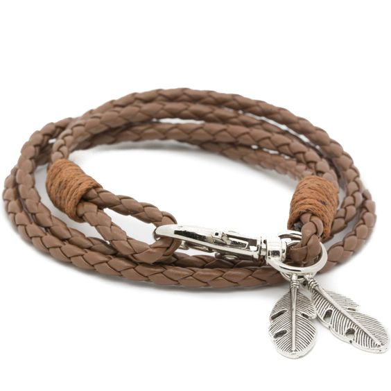 Check out our Camel Braided Bracelet with Feathers Pendant!
