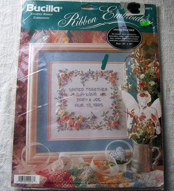 Bucilla stamped silk ribbon embroidery united together