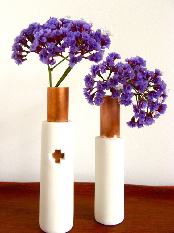 Create a copper and clay vase to show off your Spring blooms.