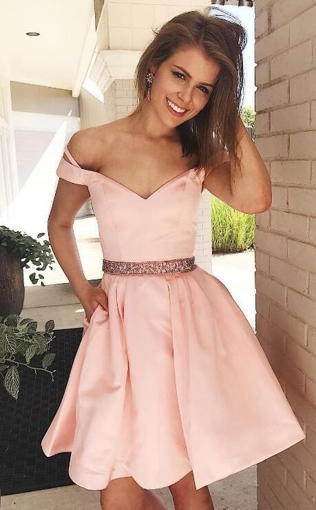 56915f71702d Off Shoulder Short Pink Prom Dress Homecoming Dress with Pockets