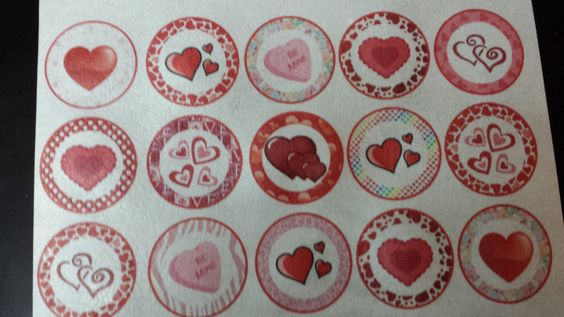 15 assorted valentine cupcake or cookie toppers by ohSEWcuddly on Etsy