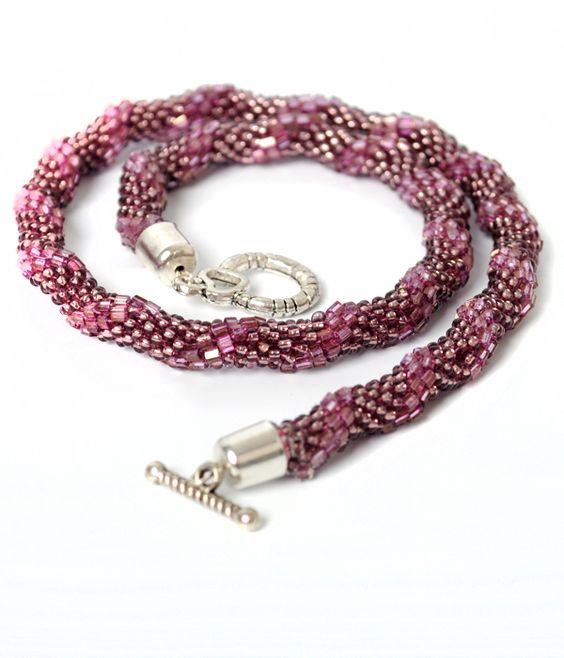 crochet rope necklace  #beadwork #jewelry