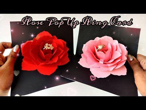 How To Make Rose Pop Up Ring Card Diy Rose Ring Box Proposal Gift Idea Youtube Diy Rose Rings How To Make Rose Diy Roses