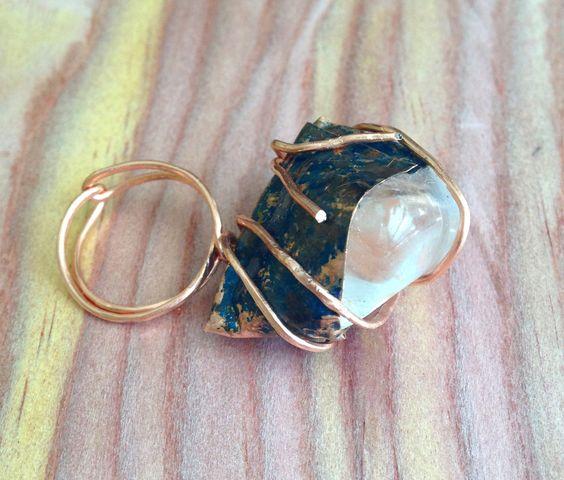 silver topaz + copper pod ring. wire wrapped, patina. high setting. sz 5-5.5. futuristic, avant garde, sci fi, mod. handmade, ooak by WildVeil on Etsy