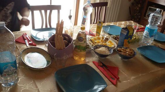 "Table - 3.4.'16 11,45AM > 2PM #alternativeSunday  #lunch Athome  of @ 99❤ + Benito'$ sorvegl.; #spices✌ #rice riso avec Porcini #mushrooms +cheese #spicyoil #taralli #mayonnaise maionese #sesamgrissin #asparagus asparagi #fennel finocchio #olives #blackbread pane nero #redwine vino rosso 'Amarone' & #dessert  #sweet cake"" torta avec #jam marmellata marmelada #crust crostata #lamponi raspberry of $ & #strawberry fragole #pan panna."