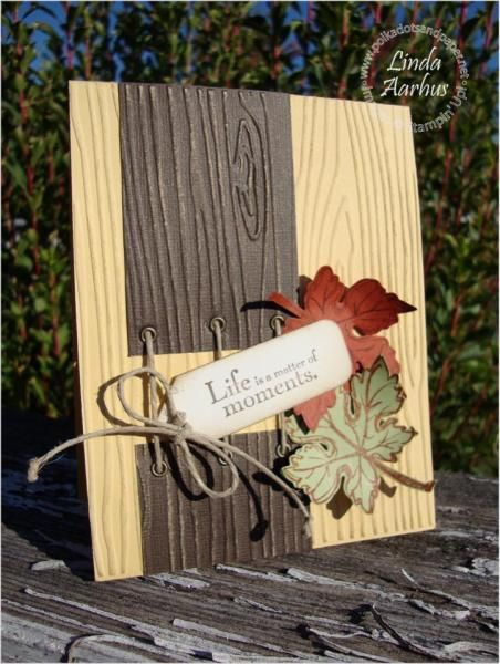 Rustic Wood Embossed Elements of Style Fall Card...with eyelets & twine and curled edged leaves. By stampinconnection.com.