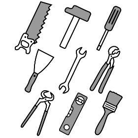 Comic Werkzeuge - Einige Werkzeuge als Comic dargestellt von einer S�ge bzw. Fuchschwanz, Hammer, Schraubenzieher, Spachtel, Maulschl��el, Rohrange, Kneifzange einer Wasserwagge und einen Pinsel.