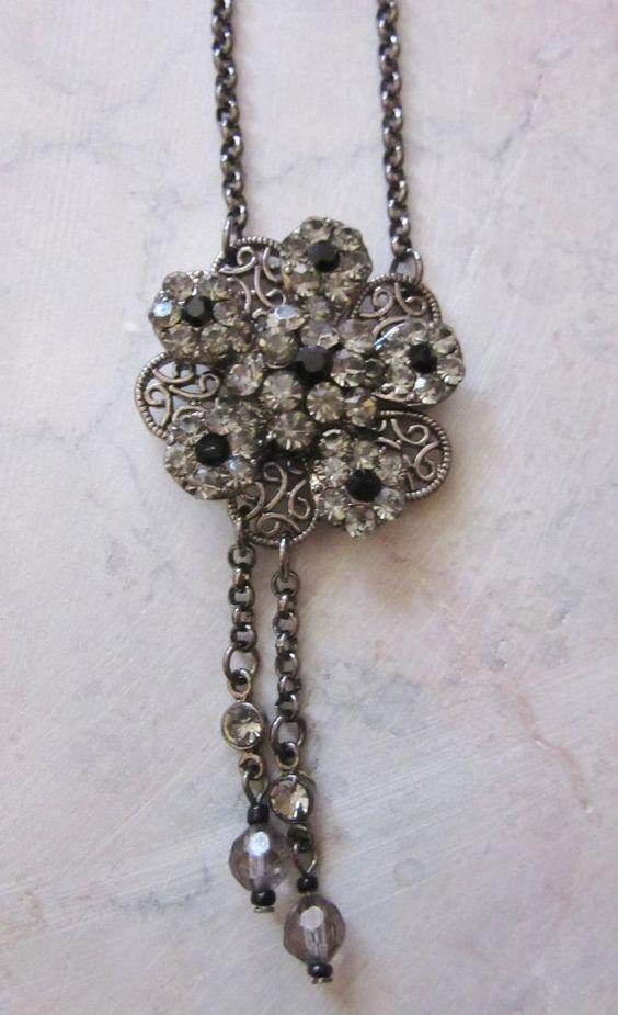 Dazzling rhinestone necklace  Art Nouveau by SumertaDesigns
