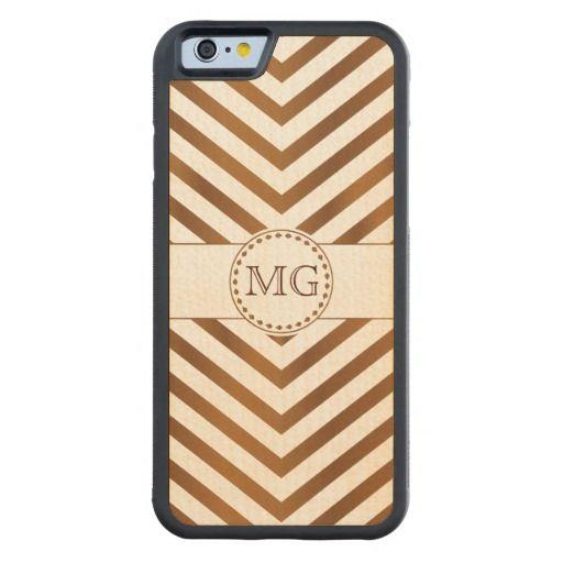 Pecan Wood Stain Chevron Monogram iPhone Wood Case