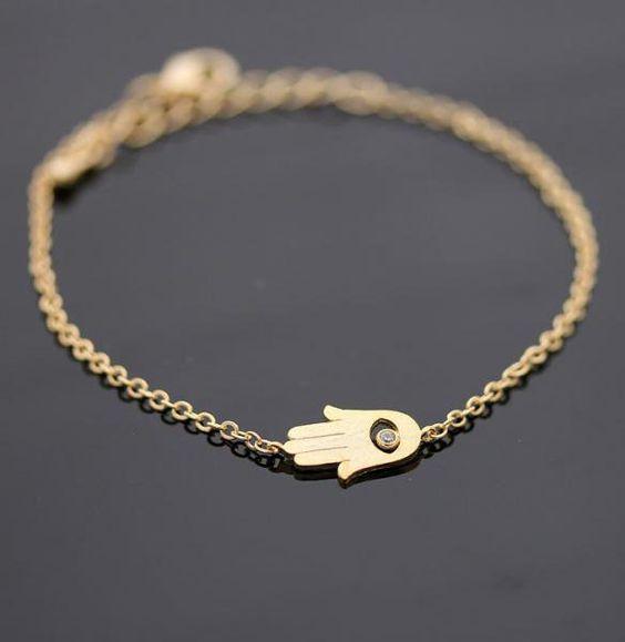 HAMSA braceletin gold by bythecoco on Zibbet