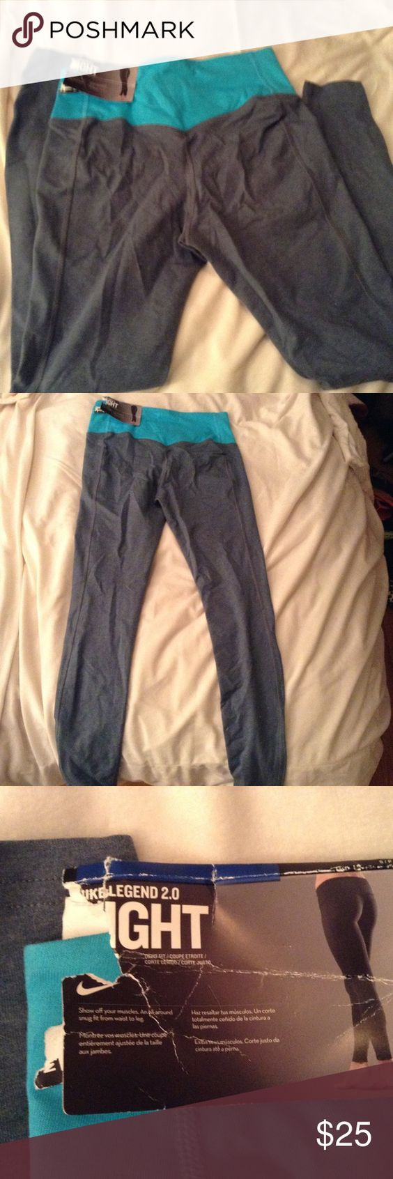 Nike Legend 2.0 Leggings size Small NWT New pair of Nike Legend 2.0 tight fit/light fit leggings in size small. Never worn. Tag is torn but still attached. Top of band is a aquamarine type blue and legs are a denim light color. B2 Nike Pants Leggings