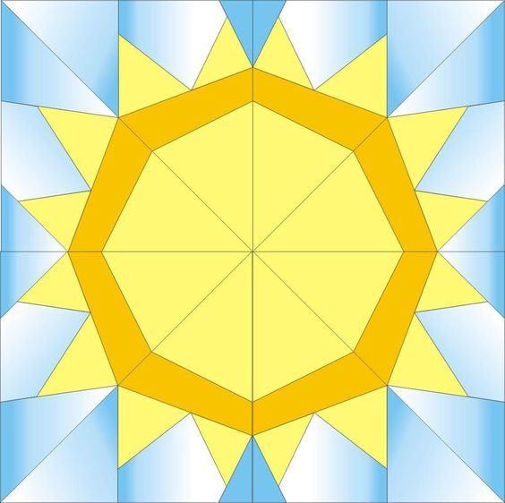 FREE Sun paper piecing quilt block ~ is this a great pattern?  I can also see, how this would be a cool Sunflower pattern too with the right fabric...hmmm!  NICE block pattern!