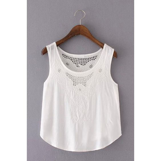 Yoins White Round Neck Ultra-thin Lace Vest ($15) ❤ liked on Polyvore featuring tops, white, lace crop top, crop tank tops, white vest, lace tank and white crop tank