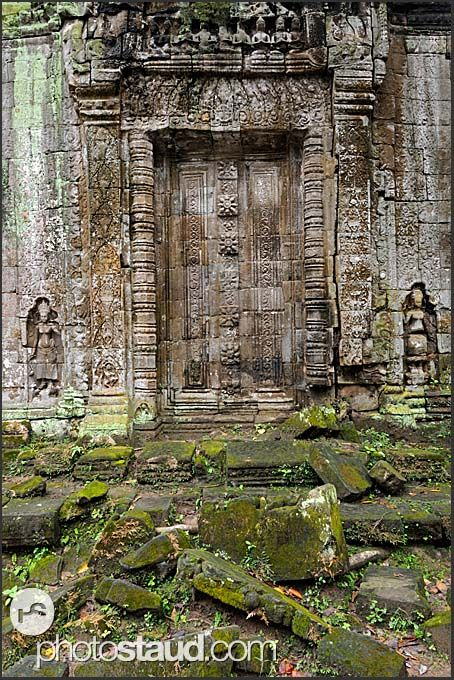 Blind stone doors in Ta Prohm Temple, Angkor, Cambodia