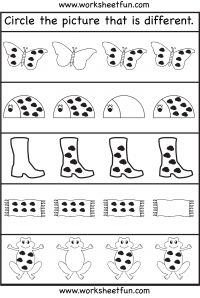 Printables Worksheets For Three Year Olds circle the picture that is different 1 worksheet literacy worksheet