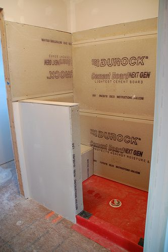 DIY Walk-In Shower: Step 2- Lining... we may need this if/when we finally ever finish that bathroom in the basement.