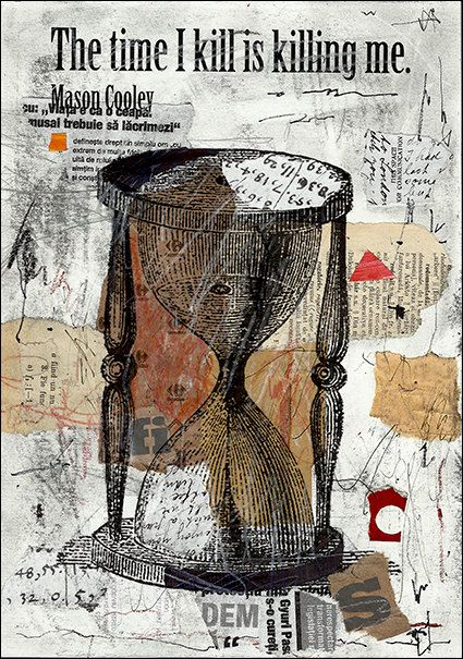 Gift Fine Art PRINT Abstract Mixed media collage Drawing by rcolo, $10.00