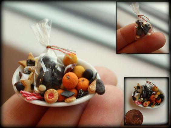 Puppenstube - Puppenküche - Miniatur Essen  - Weihnachtssüßigkeiten  -1:12