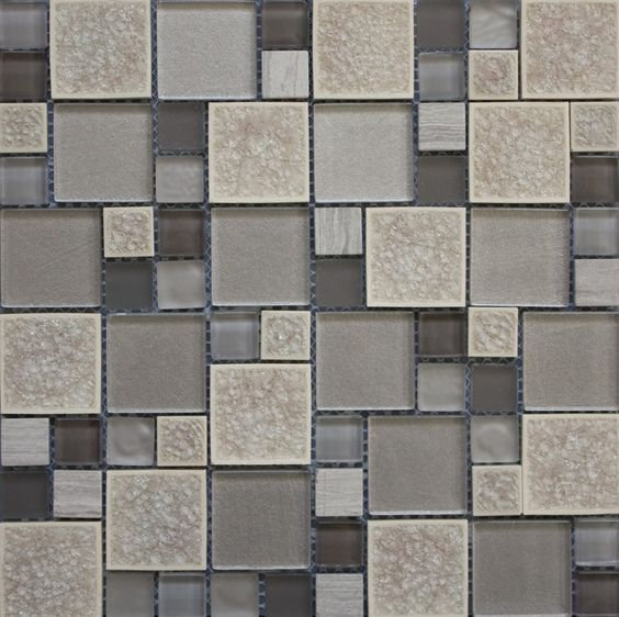 Grey Kitchen Tiles Texture: Leaf Mosaic, A Combination Of Vivid Colours With Large And