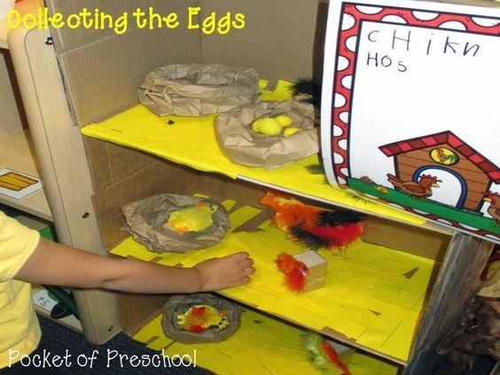 Preschoolers can collect eggs from the chicken house on the pretend farm.  Pocket of Preschool