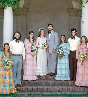 70s wedding~gingham dressed bridesmaids & bow ties!: