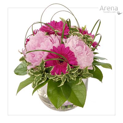 Small Floral Arrangements Pretty Pink Glass Bowl Table
