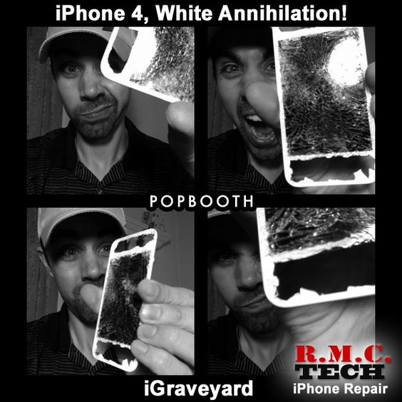 An iPhone 4, White, smashed by a car in a garage!! Woah!!