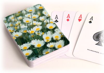 Play card games on custom playing cards with your favorite picture from your garden. Playing cards come in a standard 52-card deck and are laminated for durability. A plastic case is included.