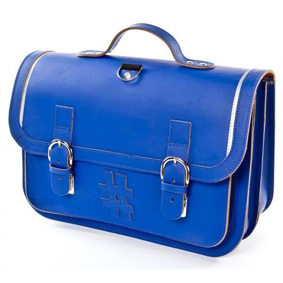 Hippe lederen boekentas 38cm - Kobalt blauw