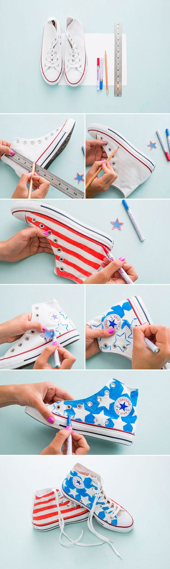 Making these sneakers for the 4th is a must. 1. Sketch out your patriotic design on a piece of paper to avoid making mistakes on the sneaks. 2. Create 1/2-inch lines along the shoe to provide a grid for your pattern. 3. Grab your paint pens and color away!: