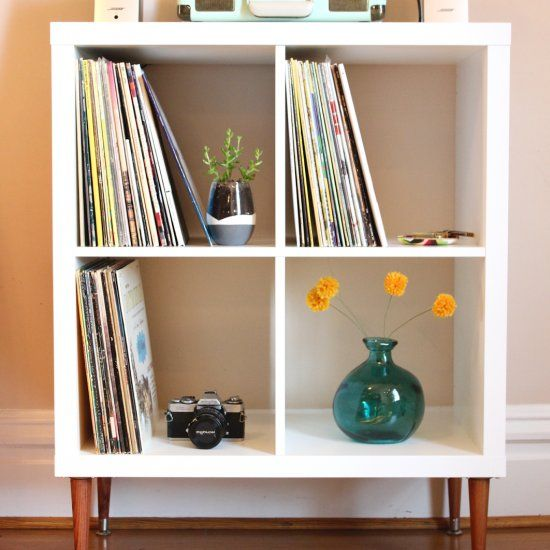 Record shelf shelves and hacks on pinterest for Ikea kallax records