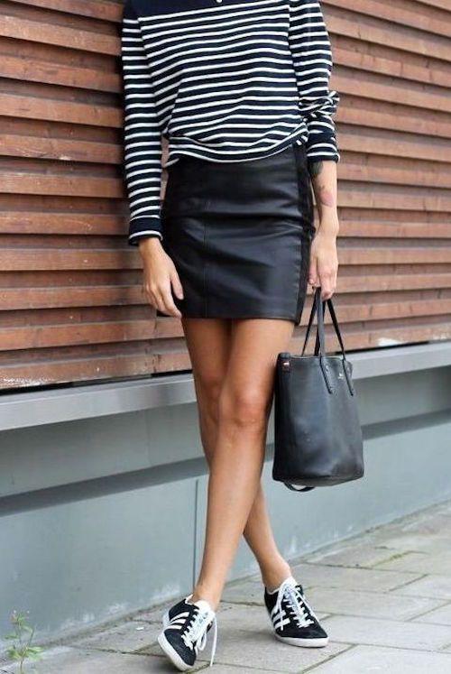 outfits casuales falda corta negra
