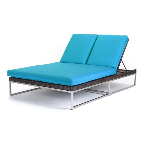Caluco mirabella all weather wicker double chaise lounge for All weather chaise lounge