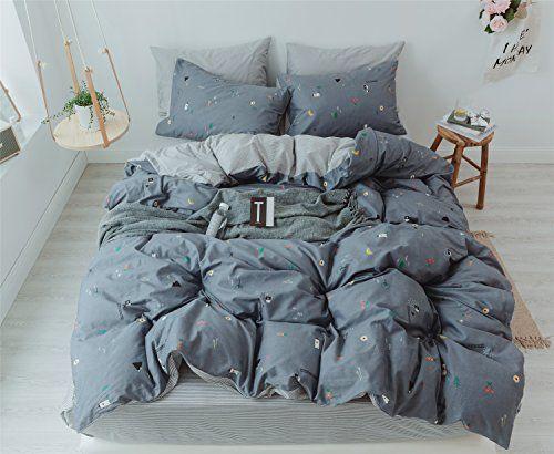 Cenarious Trees Grey Scandinavian Style Brief Soft Cotton Duvet Cover Set 4pcs Bedding Set Queen 7 King Bedding Sets King Size Bed Sheets Kids Sheet Sets