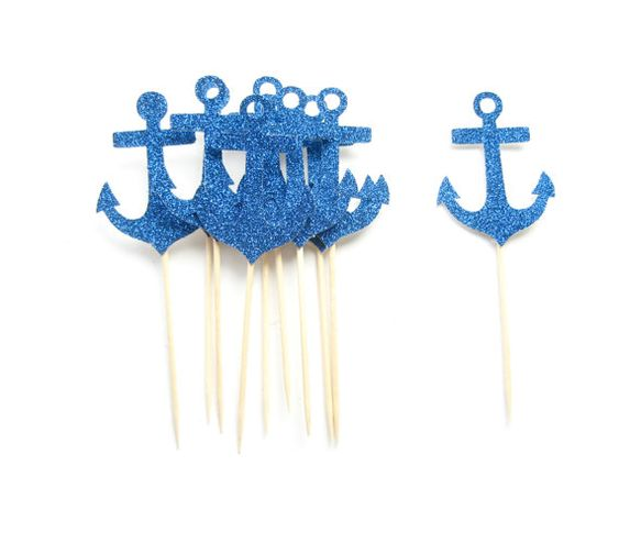 10 Navy Glitter Anchor Cupcake Toppers  Nautical by Pelemele