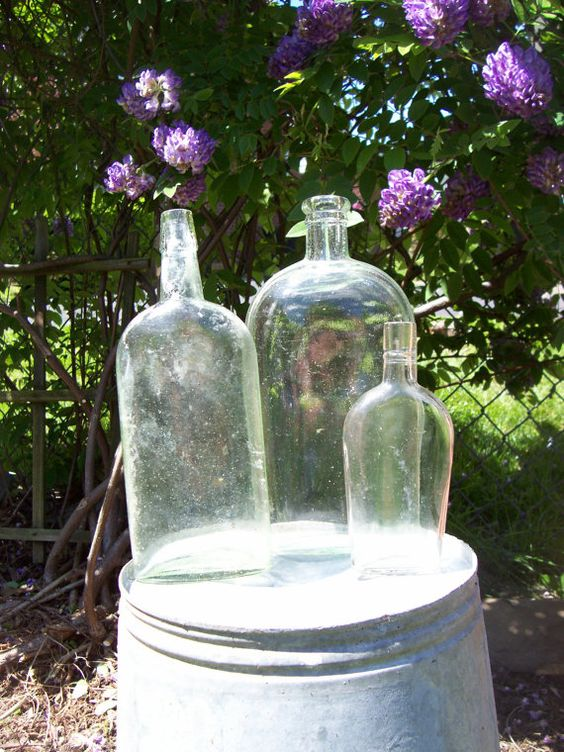 Trio of Antique Bottles   Flasks by trufflepigtreasures on Etsy, $15.00