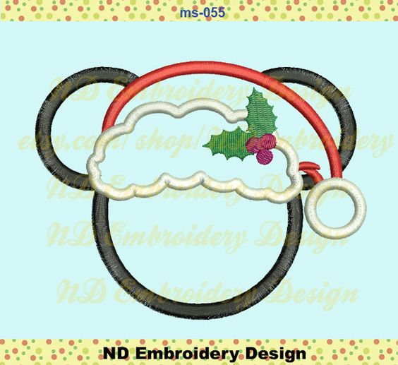 Christmas Mickey Applique Design, Santa Hat Machine Embroidery,   ms-055 by NDembroidery on Etsy https://www.etsy.com/listing/235815790/christmas-mickey-applique-design-santa